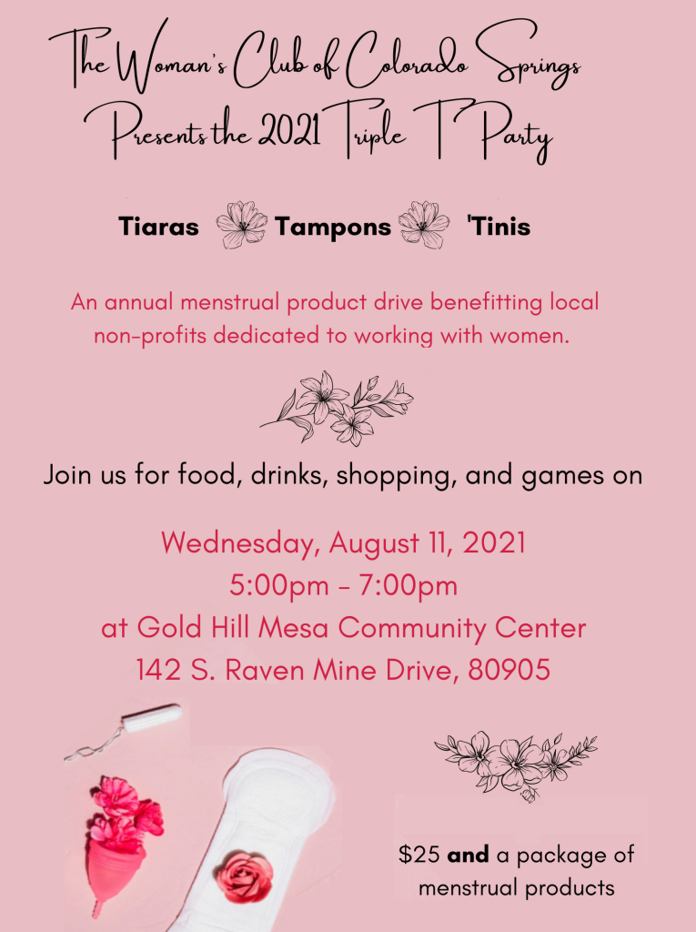 Wednesday, August 11, 2021 5:00pm - 7:00pm  The Woman's Club of Colorado Springs presents the 2021 Triple T Party [...]